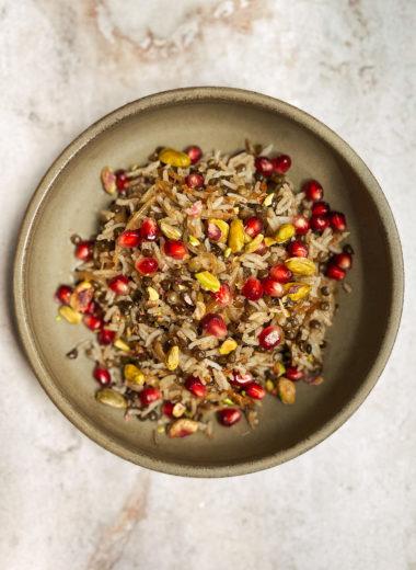 Shemesh Kitchen - Mujaddara With Pomegranate And Pistachios