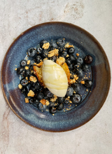 Fancy Frozen Yogurt With Olive Oil, White Chocolate, And Blueberries
