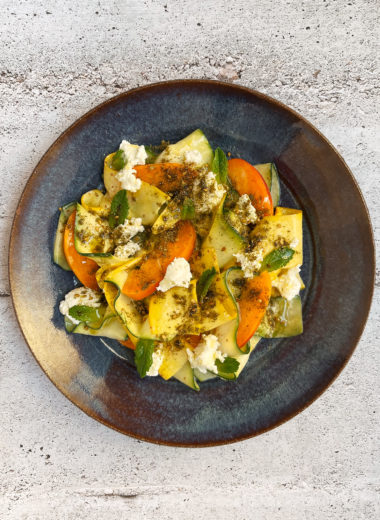 Shaved Zucchini Salad With Goat Cheese, Apricots, and Za'atar
