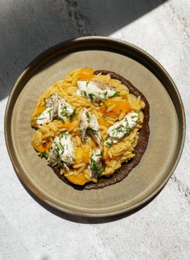 Orzo Risotto With Sea Bream, Black Garlic And Eggplant Cream